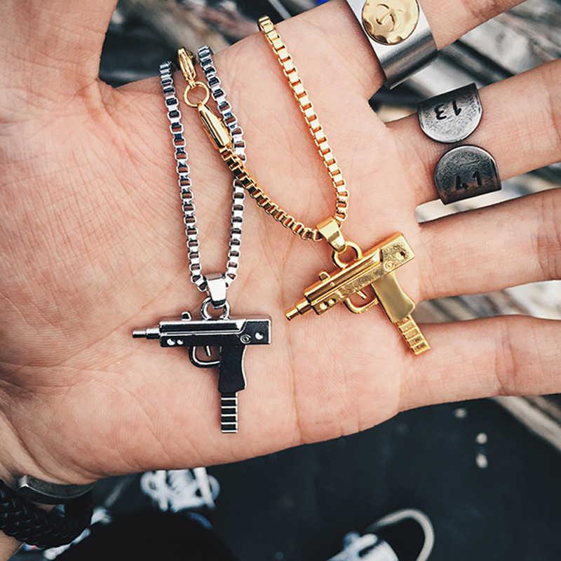 stainless steel necklace 2019 New Fashion Gold Uzi Gun Shape Pendant Necklaces Hip Hop Long Cuban Link Chain Necklace for Women