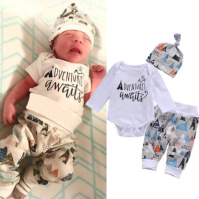 Newborn Baby Boy Long Sleeve Top Romper +Long Pants Hat 3PCS Outfits Set Clothes long long