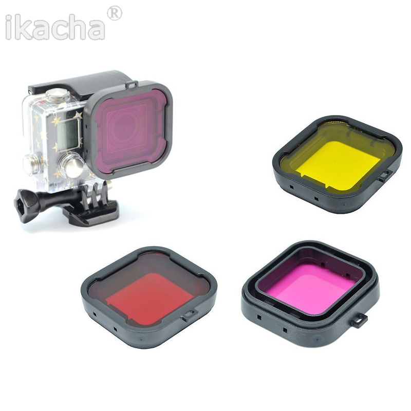 Waterproof Case Lens Filters for GoPro Hero 4 3+ 4 Action Camera Yellow Purple Grey Red Filter for Go Pro Diving Accessory justone professional diving housing yellow orange purple filters for gopro hero 3