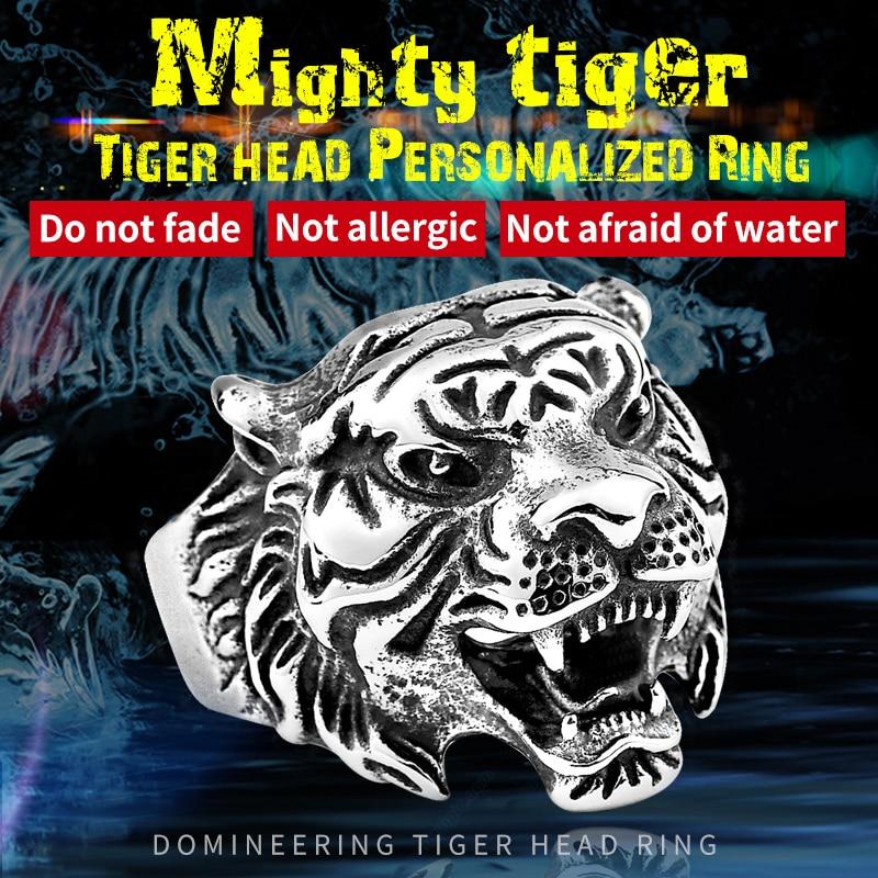 Beier stainless steel titanium kepala harimau cincin pria kepribadian unik pria perhiasan jimat hewan baik detail br8-307 us ukuran