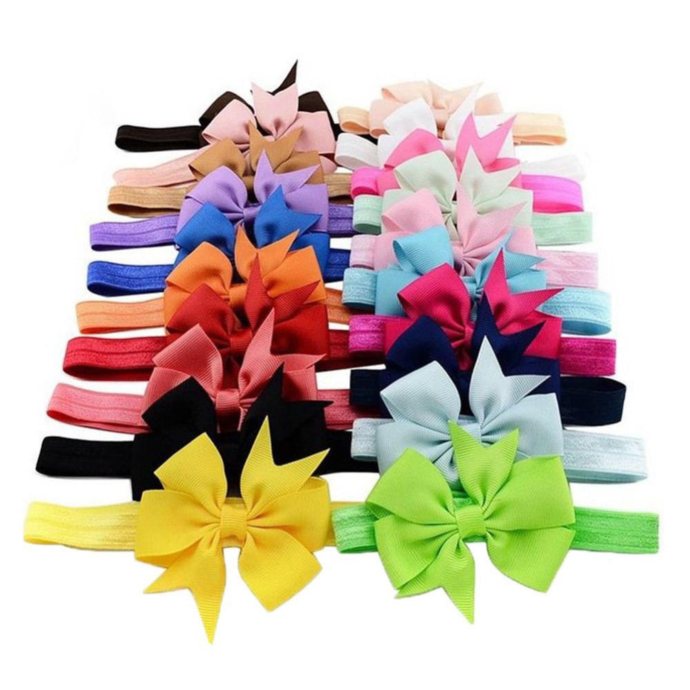 20Pcs baby girl headbands Baby Hair Accessories Ribbon dovetail headband Toddler Girl Kids Bow Hairband unicorn party toka 20pcs cute hair bows boutique alligator clip grosgrain ribbon for girl baby kids t026