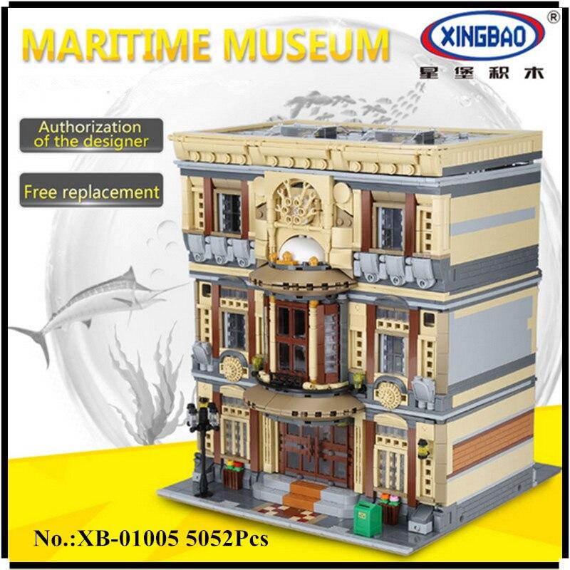 В наличии XINGBAO 01005 5052 шт. Подлинная Творческий город МОС серии морской музей набор строительных блоков Кирпичи игрушки модель