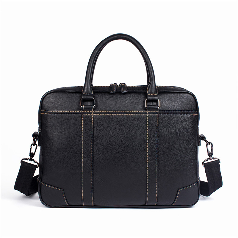 Nesitu High Quality Black Real Skin Genuine Leather A4 Office Men's Briefcase Portfolio Shoulder Messenger Bags M9879-2