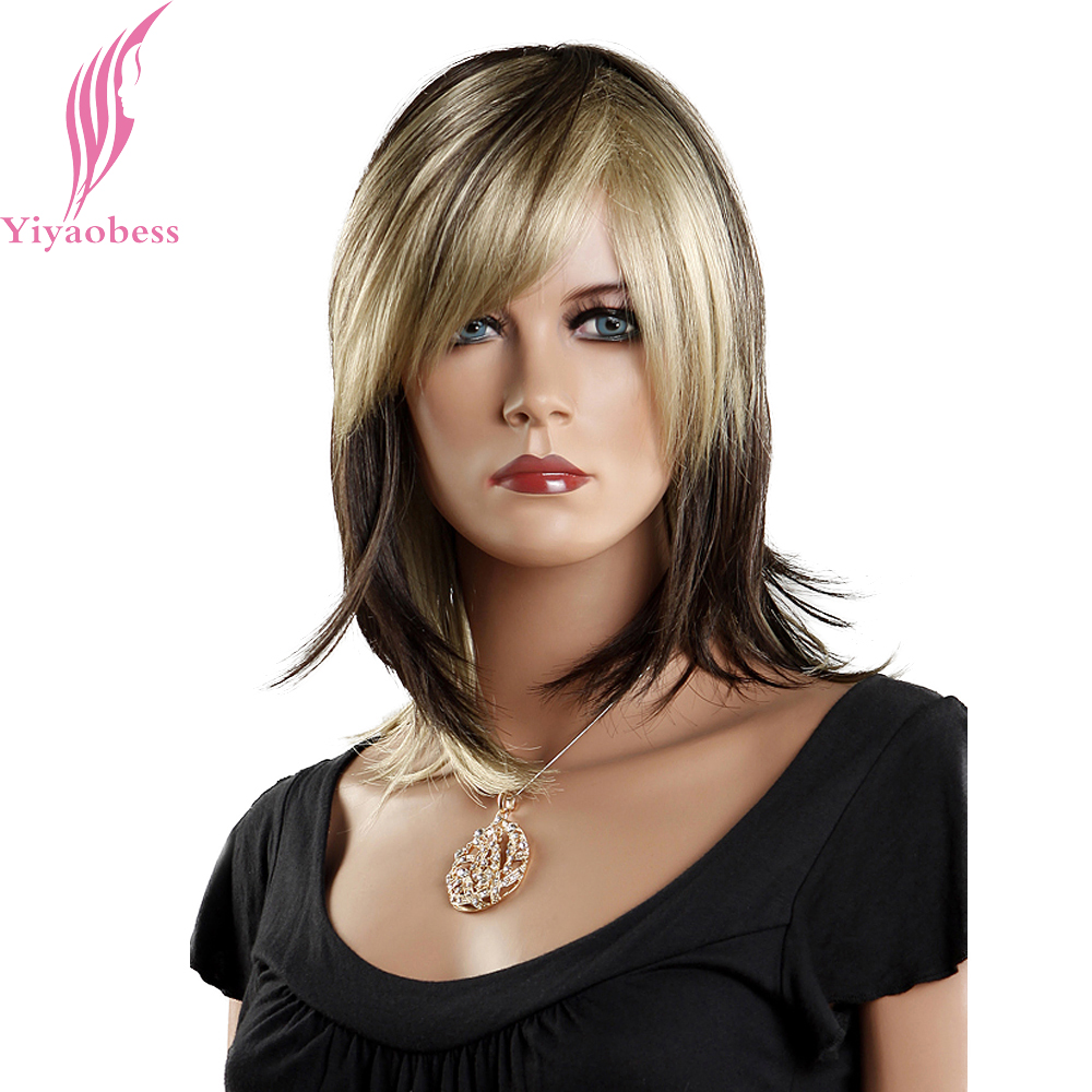 Yiyaobess 14inch Synthetic Mix Brown Ombre Wig With Bangs Straight Medium Hair Party Wigs For Women Japanese Fiber