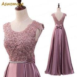 Элегантное вечернее платье с длинным 2018 аппликации платье для банкета, вечеринки Потрясающие сатиновое платье для выпускного вечера; Robe De ...