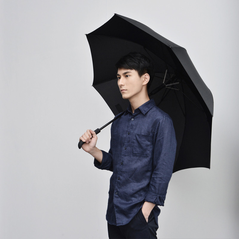 US $46 67 15% OFF|2018 New Japanese Style Solid IT Man Simple Solid Long  Handle Semi Automatic Business Umbrella Guarda Chuva-in Umbrellas from Home  &