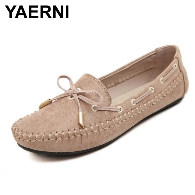 df1234b25941 YAERNI Candy Color Women Loafers Tassel Fashion Round Toe Ladies Flat Shoes Woman  Sweet Bowtie Flats Casual Shoes
