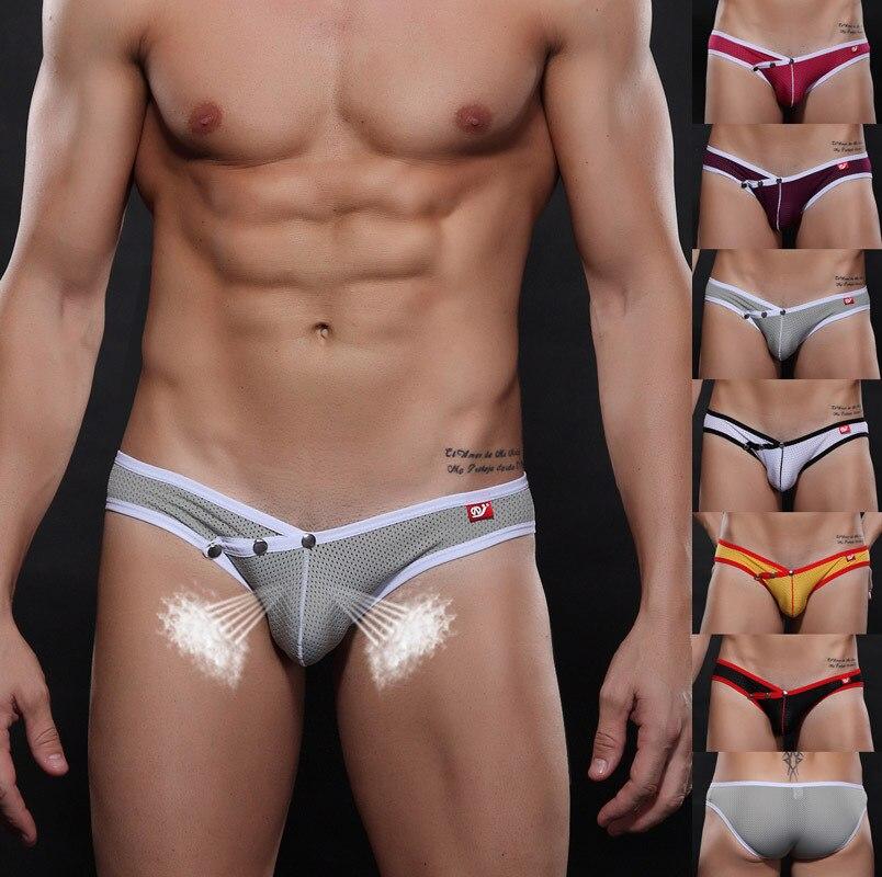 Online Shop Men's underwear male mesh briefs low waist free ...
