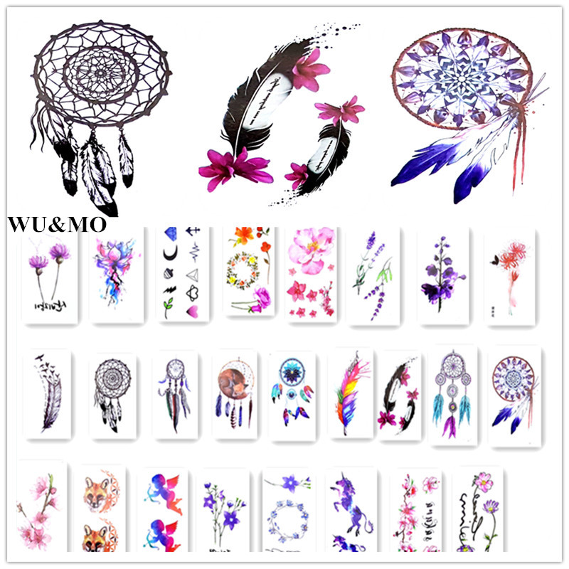 4 Colors Lovely Waterproof Temporary Tattoo Dreamcatcher Feather Tatoo Henna Fake Flash Tattoo Taty Tattoos handmade luminous feather bead dreamcatcher decoration