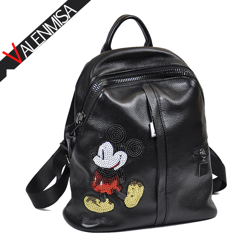 VALENMISA Brand Mickey Genuine Leather Cute Backpack Women S Designer Black Cartoon Travel Bags School Bags