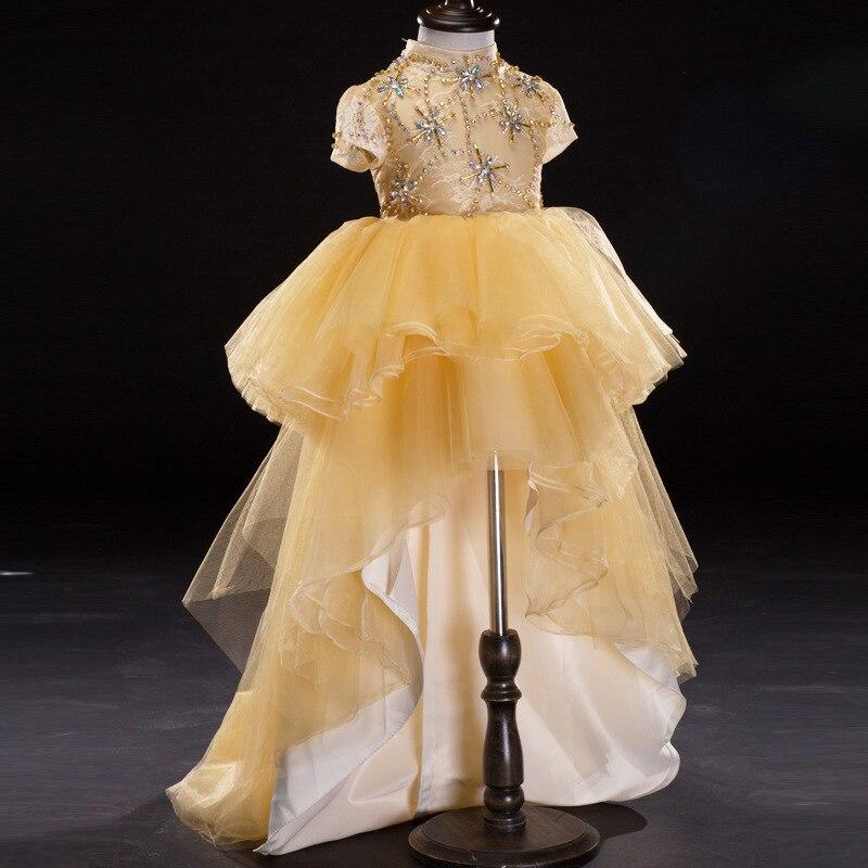 цена на D-068 Flower Girl Dress Tail Wedding Flower Girl Costume show host piano Performance Clothes Girls Princess Tutu Dress