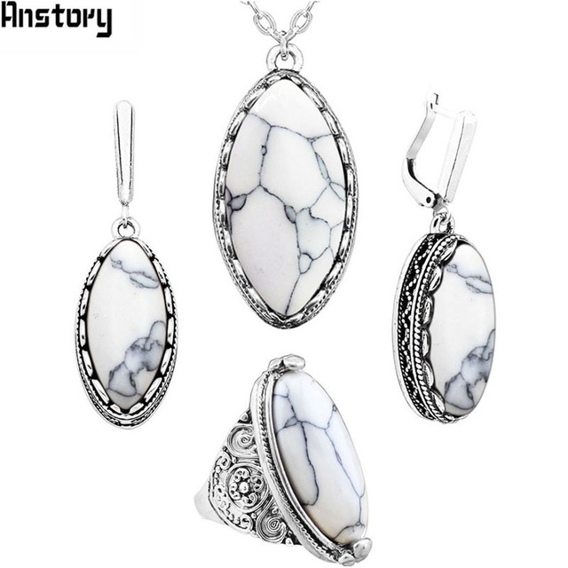 Anstory Eye Shape Stone Jewelry Sets 4 Colors Necklace Earrings Rings For Women