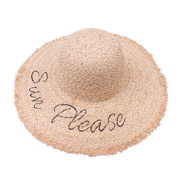 Happy sunday Embroidered lafayee straw hat 2075da96189