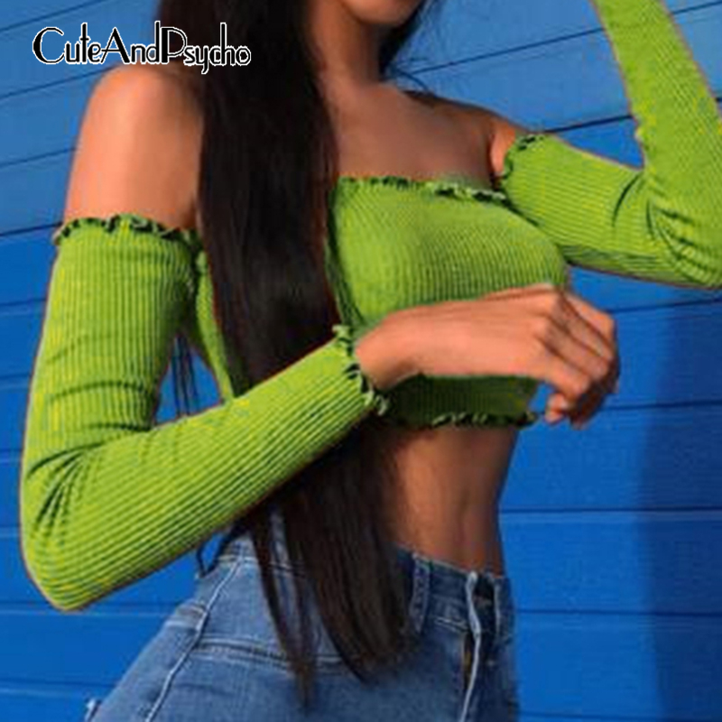 2019 Off Shoulder <font><b>Green</b></font> <font><b>Sexy</b></font> <font><b>Women</b></font> T-Shirt Ruffle Solid Harajuku <font><b>Tshirt</b></font> Backless Long Sleeve Autumn Top Streetwear Cuteandpsycho image