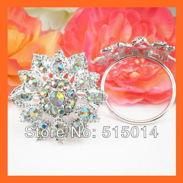 Free Shipping !100pcs/lot 40mm Ring Flower CrystalAB Rhinestone Napkin Rings ,Wedding Table Decoration ,Rhinestone Holders
