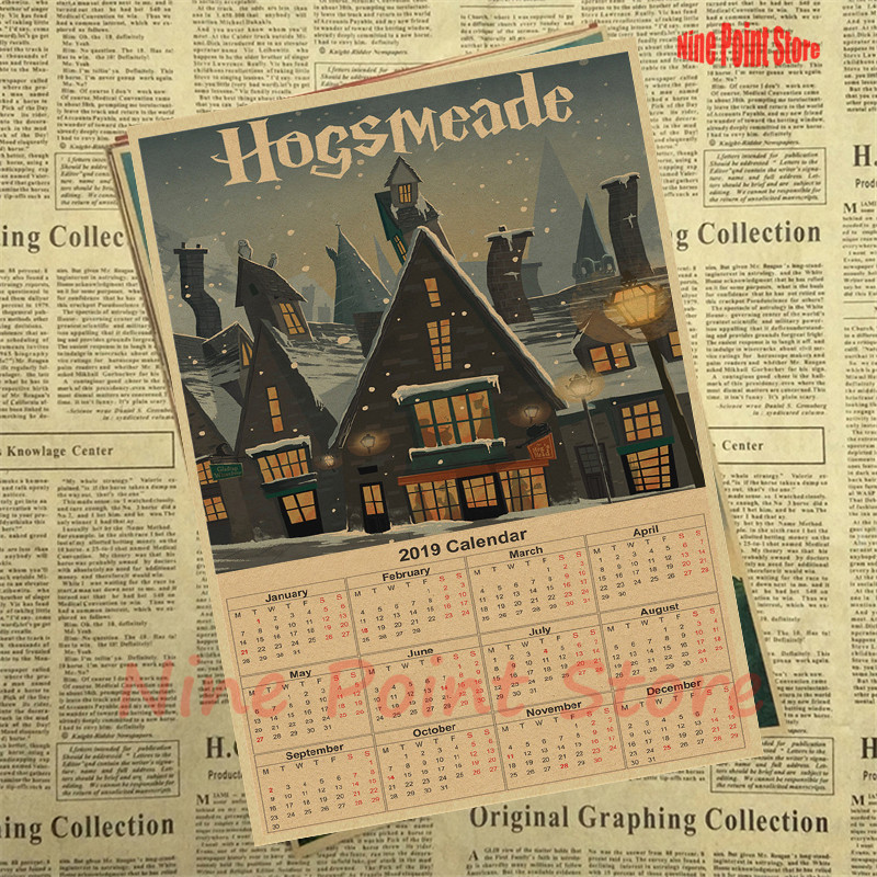 US $1 66 17% OFF|Harry Potter 2019 Calendar Kraft paper Poster Hogwarts  Express Diagon Alley Hogsmeade etc Film kraft paper Movie Posters-in Wall