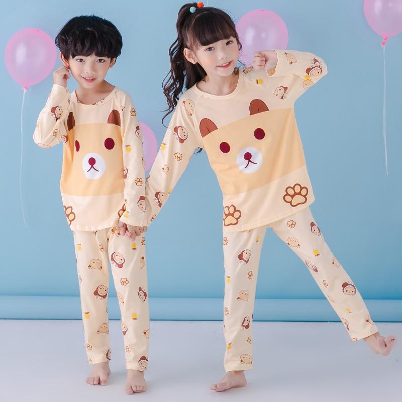Детский пижамный комплект; сезон осень Длинные рукава пижамы для мальчиков Обувь для девочек милый мультфильм Домашняя одежда большие детс...