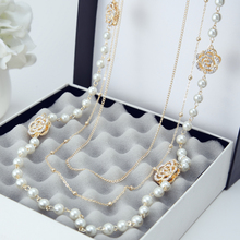 2016 New Fashion Vintage Multilayer Simulated Pearl Jewelry Hollow Out Flower Rhinestones Long Necklace Metal Chain For Women