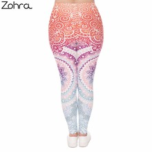 Zohra Plus Size Women Leggings Aztec Round Ombre Printing Stretch High Waist  Large Size Trousers Pants For Plump Women