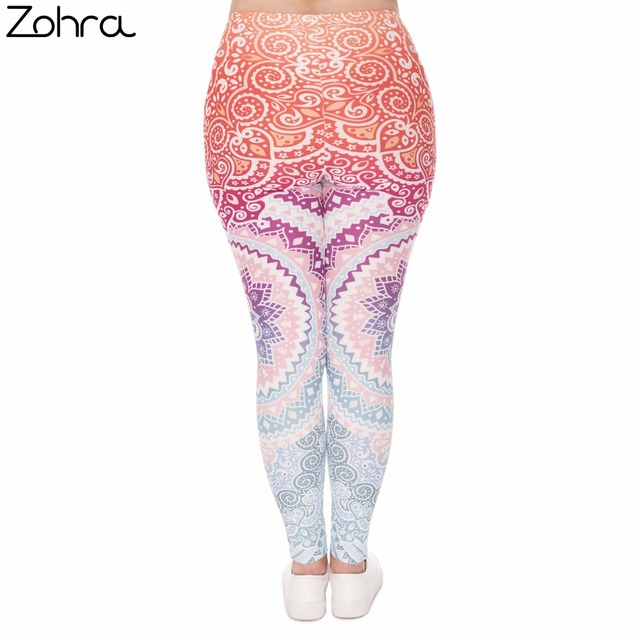 Plus Size Women Leggings Aztec Round Ombre Printing Stretch High Waist  Large Size Trousers Pants For Plump Women