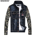 Vintage Denim Jacket Mens Spring Fashion Men Slim Fit Jeans Jackets Male Camo Casual Jeans Clothing Outwear Plus Size XXXL TC635