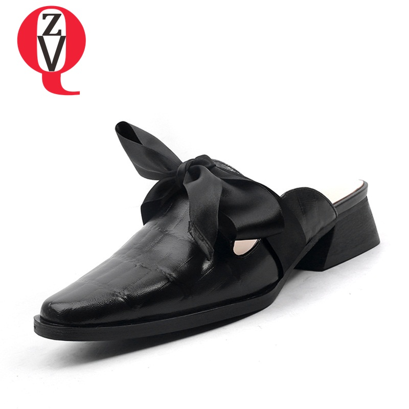 ZVQ genuine leather woman shoes butterfly-knot outdoor sexy party slipper 4cm square heels 34-43 large size mules shoes