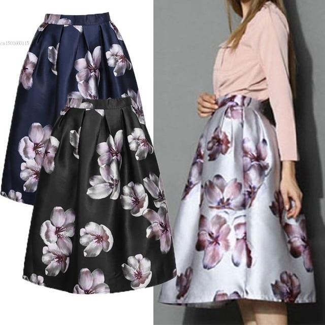 Women Floral Print Elastic High Waist Pleated Long Midi Skater Skirt 3  Colors 2018 Spring Summer New Black Satin Flowers Skirt 3944f5e3f