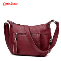 Cloth Shake Brand Fashion Tassel Crossbody Bags Plaid PU Leather Bags Women Handbags Designer Shoulder Bags