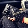 Long wallet handbag fashion lady wallet with slim wallet phone package envelope bag rivets tassel