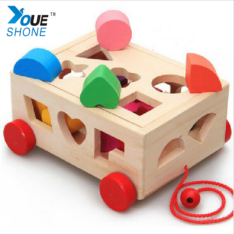 15 Holes Intelligence Box for Dragging Sorter Cognitive and Matching Wooden Building Blocks Baby Kids Children Educational Toy 15 holes intelligence box wood geometric blocks baby learning assemblage toys
