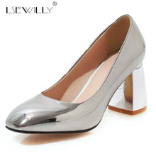 Lsewilly 2019 women pumps square toe slip on spring summer shoes classic thick high heels shoes woman office shoes size 48 E663 foreada cow genuine leather women shoes slip on mules sexy thick high heels shoes spring 2018 pumps black square toe party shoes