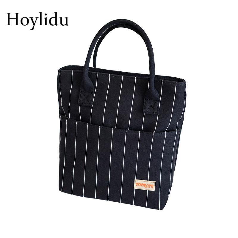 Portable Thermal Insulation Lunch Bag For Women Fashion Handbag Waterproof Canvas Tote Kids Insulated Lunch Box Picnic Food Bag