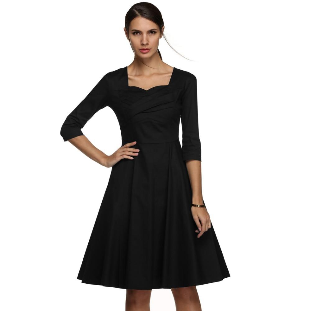 ACEVOG Marka 1950s Sukienka Jesień Wiosna 3/4 Rękawem Kobiety Moda - Ubrania Damskie - Zdjęcie 4