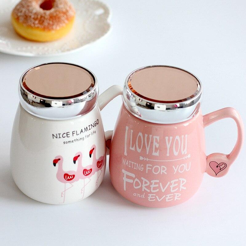 Cute Cartoon Flamingos Coffee Mugs With Lid Breakfast Milk Cup
