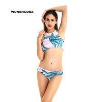 2017 Vest Style Mid Low Waist Sexy Women Bikini Set Print Leaf Two Pieces Swimwear Swimsuit