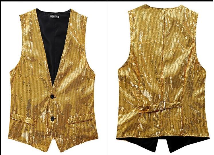 Free ship mens golden/silver/red/blue/black sequined vest stage performance dance vest