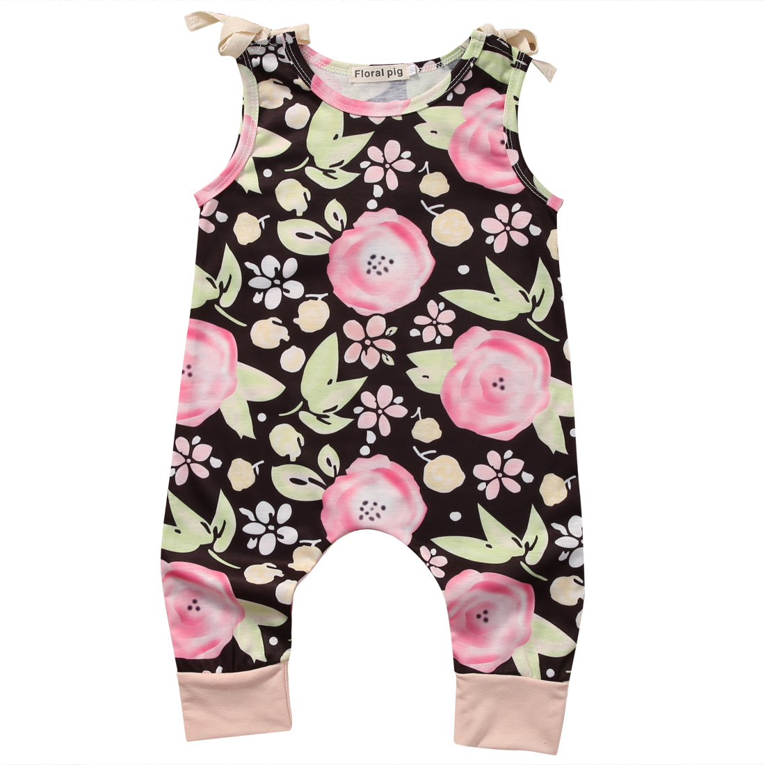 34149746a873 2017 Summer Floral Clothes Toddler Kids Girls Sleeveless Romper Jumpsuit  Outfit Sunsuit 0-4Y