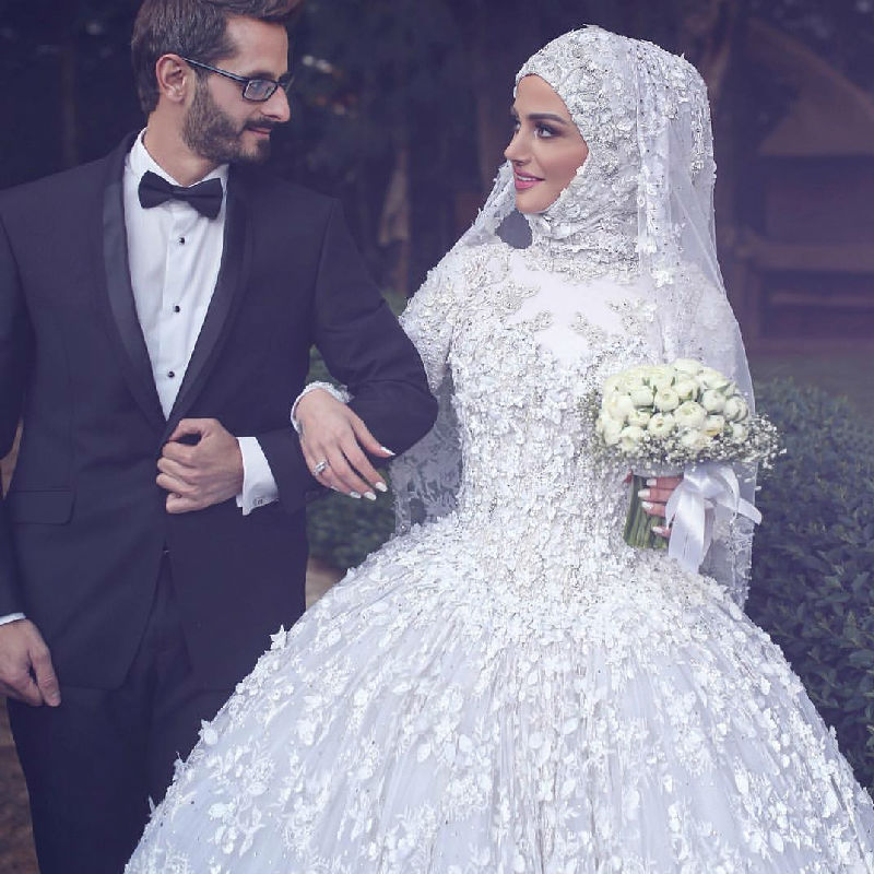 Muslim Ball Gown Wedding Dresses Long Sleeve Applique Turkish Islamic Women Bridal Gown With font b