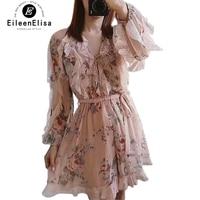 Boho Floral Ruffled Dresses with Petal Sleeve Women Dress Mini Pink Flower Print Dress Women Elegant V Neck