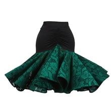 Lace Latin Dance Kjol Dance Wear Utsökt kvalitet D326 Blue Green Wine Red Colors Ruffled Oregelbunden Hem