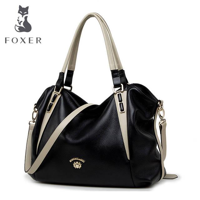 FOXER бренд Для женщин из натуральной кожи сумка женская сумка женские  роскошные сумки Женская мода кожаные b35925cd658