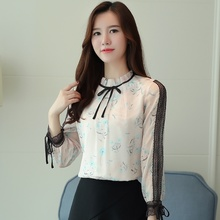 Blusas 2019 Blouse Women Printed Chiffon Shirt Lace Stitching Bow Ladies Fashion Blouses
