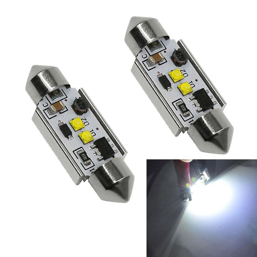 2Pcs Super Bright Festoon LED 31mm 36mm 39mm 42mm C5W C10W Dome Lamp Cree Chips No Error Canbus Car Reading Light Bulbs White