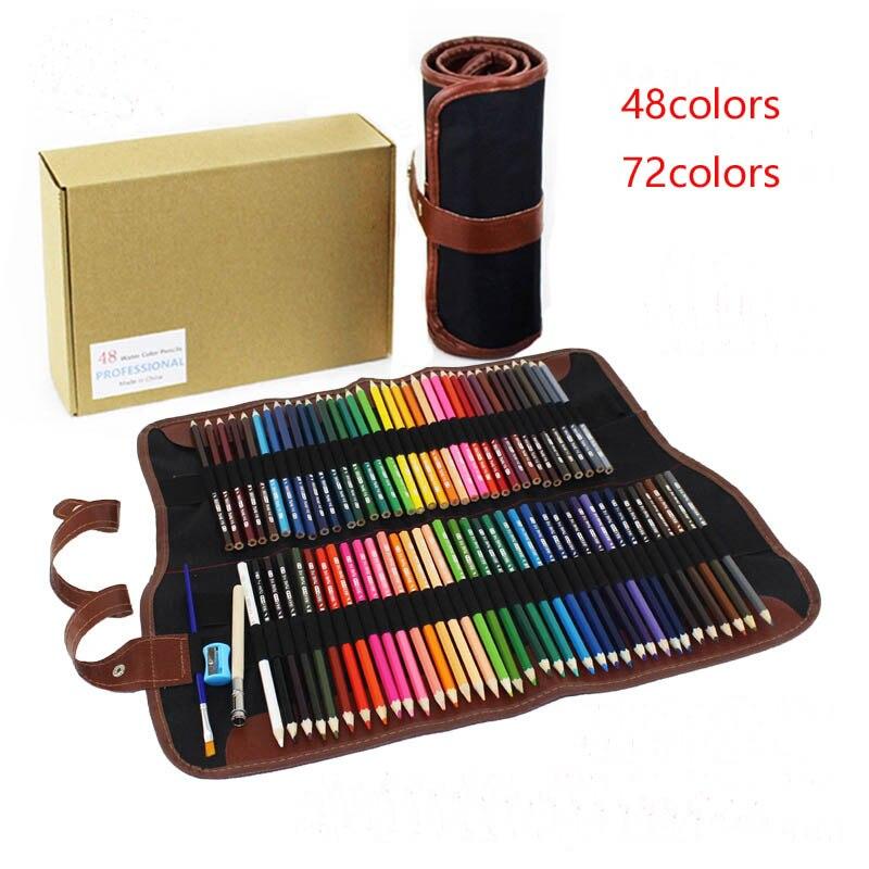 Bleistift + Federmäppchen Sicher ungiftig Wasserlösliche Farbstifte Set Kunst Malerei Graffiti Kind Schreibwaren 48/72 farben verfügbar