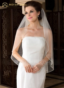 Image 1 - Free Shipping Bridal Veil White/Ivory Short Wedding Veil Bridal Veils With Beadwork Wedding Accessories Veu De Noiva MD3576