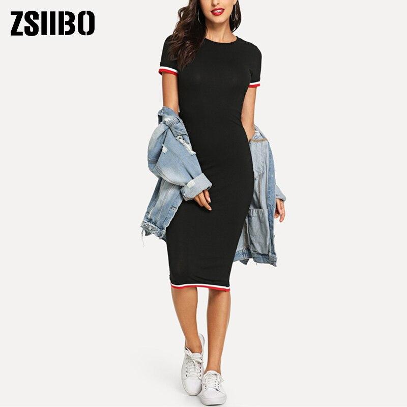 Summer Dress Female Clothes Fit Body Round Neck Knee Length Bag Hip Temperament Bodycon Dress For Women Clothing женское платье|Dresses|   - AliExpress