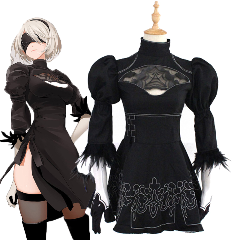 Nie Automata YoRHa No. 2 Type B Cosplay <font><b>Costume</b></font> 2B <font><b>Sexy</b></font> Black Outfit <font><b>Anime</b></font> Games Suit Women Girls <font><b>Halloween</b></font> Party Fancy Dress image