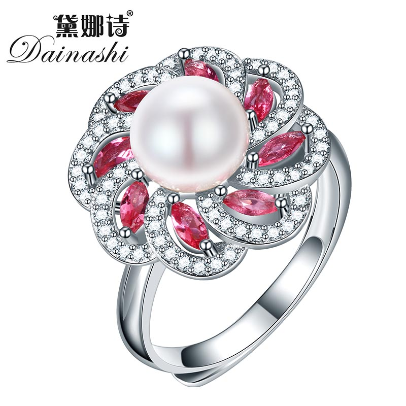 2019 Hot Selling 925 Sterling Silver Ring For Women Black Ring 8-9 Mm Genuine Freshwater Pearl Jewelry High Quality Gift Box