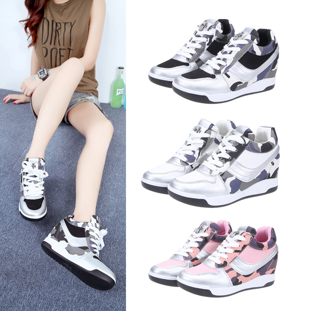 ecfa2c421791 High-top Hidden Wedge Heels shoes Fashion Women s Elevator ankle boots  causal Sneakers Sports Shoes Platform Velcro shoes XSSD9