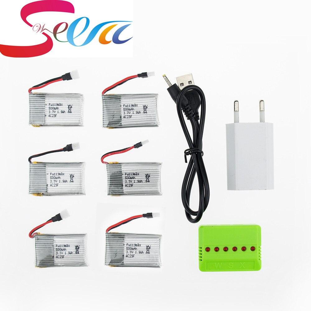 Syma x5 6 pz lipo 3.7 v rc batteria 500 mah con verde spina del caricabatterie set per syma x5c x5sc h5c x5a rc batteria drone quadcopter nuovo